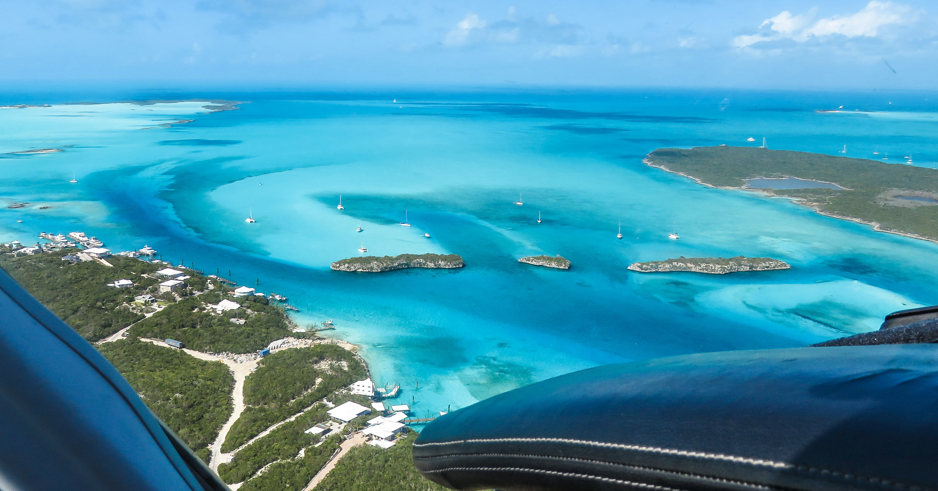 Flying into Staniel Cay Airport in the Exuma Cays