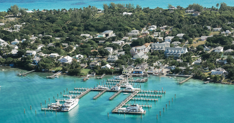 The marina at Valentines Resort on Harbour Island Bahamas, on Eleuthera Island Bahamas. Flight to Bahamas with Bahamas Air Tours.