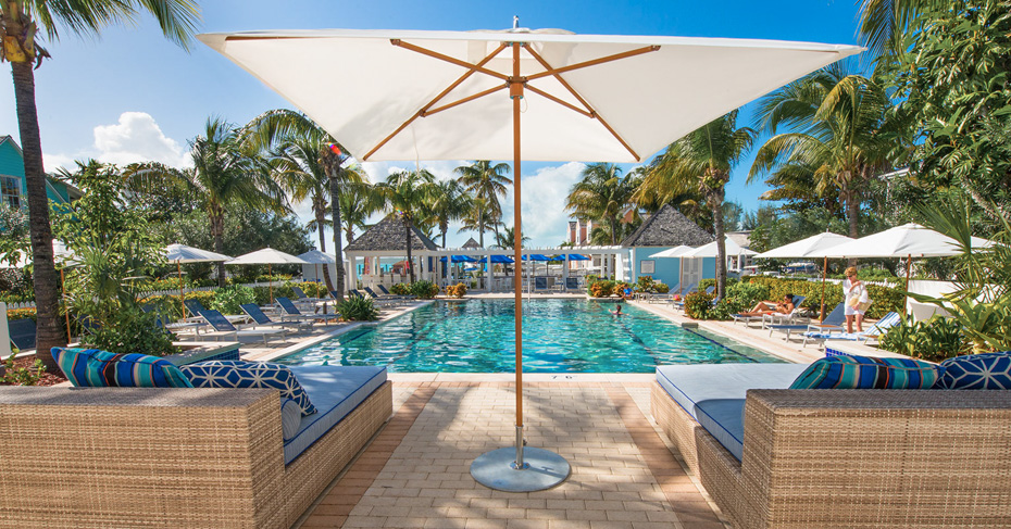 Enjoy the pool at Valentines Resort and Marina on Harbour Island Bahamas on your Bahamas Air Tour, week long Bahamas Island Hopping tours and Bahamas Day Trips from Miami.