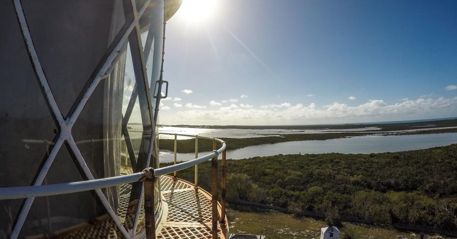 Bahamas Tour of San Salvador Dixon Hill lighthouse on an adventure flying to Bahamas from Florida with Bahamas Air Tours.