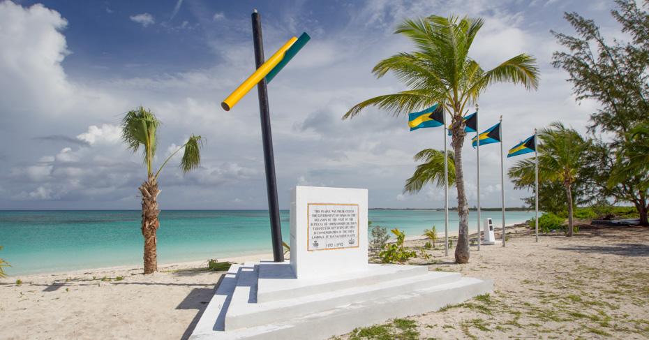 Columbus San Salvador landing site on San Salvador Island Bahamas by Christopher Columbus. Island hop Bahamas on a Bahamas tour.