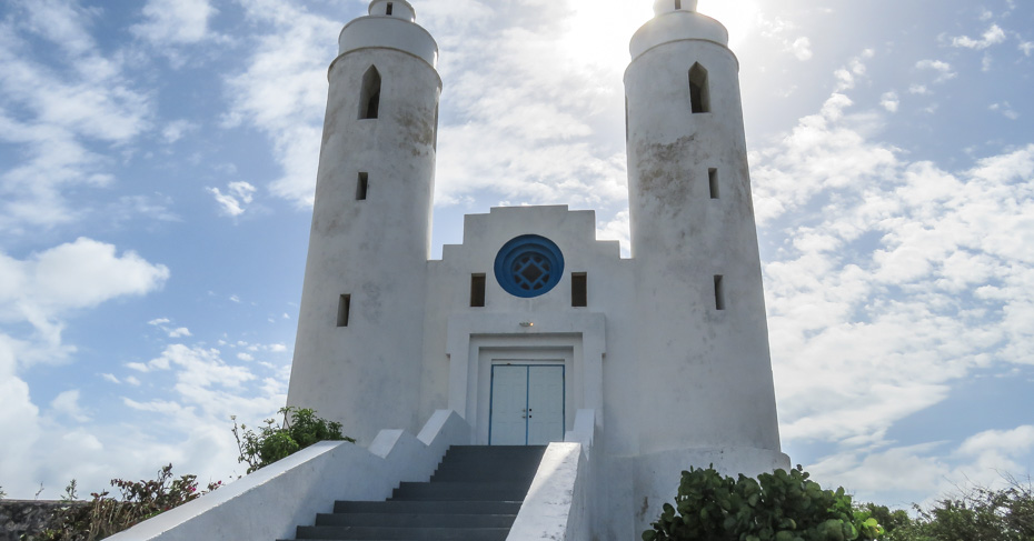 St Peters and St Pauls catholic church on Long Island Bahamas. Discover more on a Bahamas Island hopping tour with Bahamas Air Tours who provide Bahamas air charter from Florida to Bahamas.