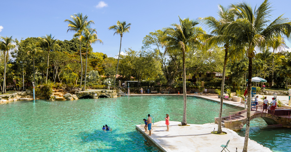 Best things to do in Miami travel blog. Venetian Pool Coral Gables. People swim and relax around the public swimming pool known as the Venetian Pool in a residential area of Coral Gables. The pool was created in 1924 from an old coral rock quarry that was abandoned in 1921