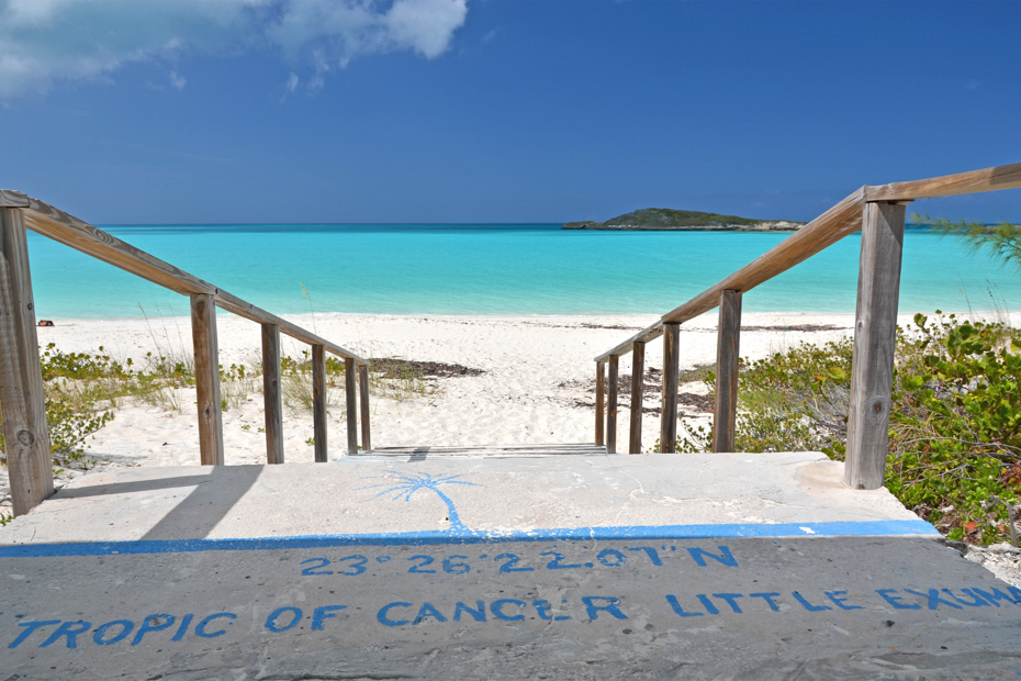 Tropic of Cancer mark at Little Exuma, Bahamas. One of the top things to do in Exuma Bahamas on a Bahamas Day Trip with Bahamas Air Tours.