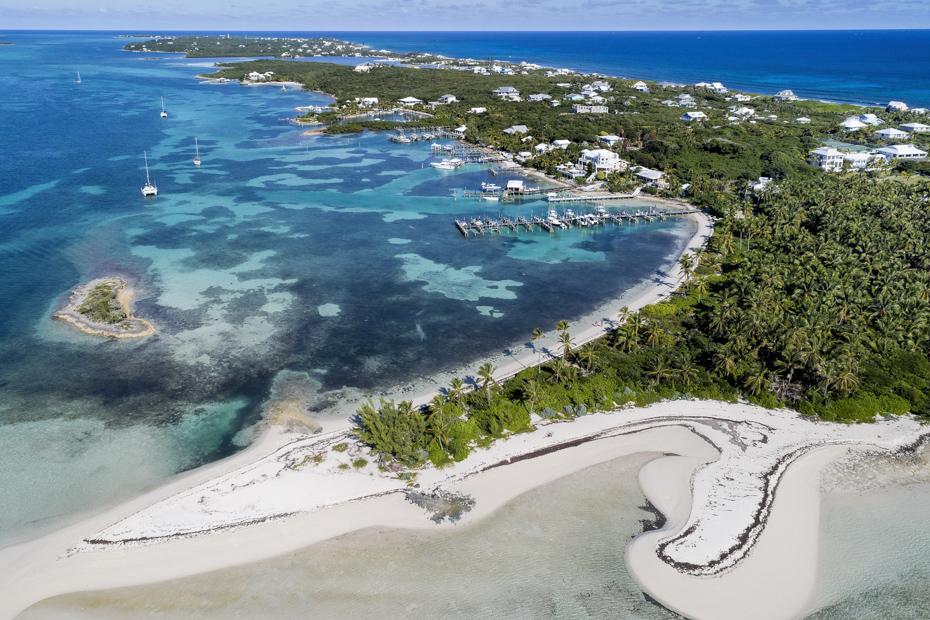 Elbow Cay Bahamas Tahiti Beach and Elbow Cay Abaco. Aerial view of Tahiti Beach and Elbow Cay in Abaco, Bahamas.