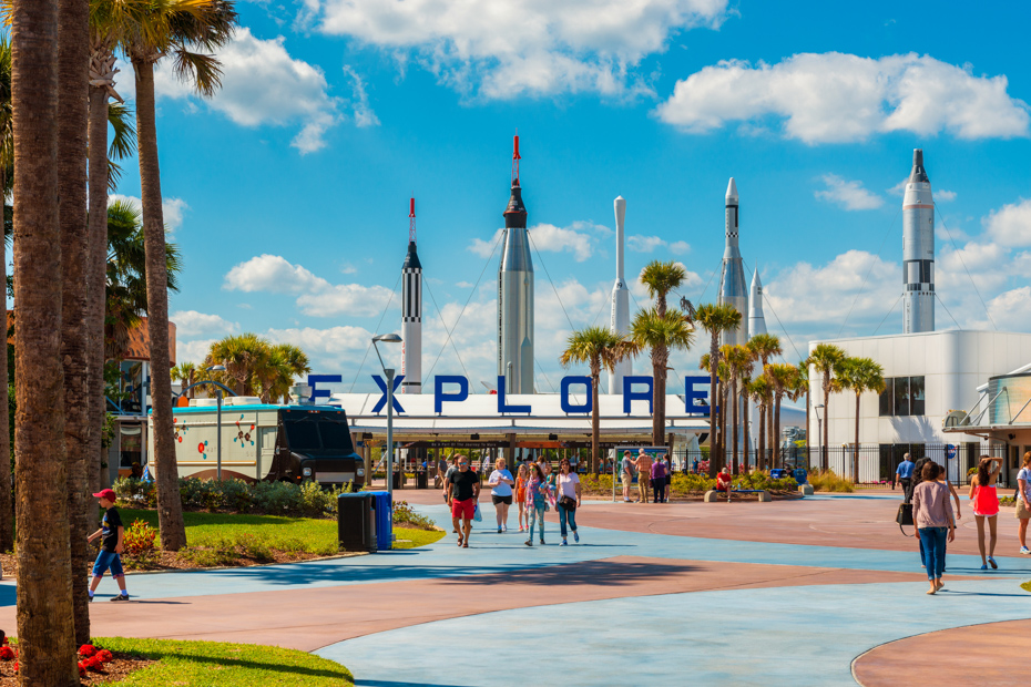 Entrance to Kennedy Space Center. What to do in Florida Attractions and Best Things to do in Florida