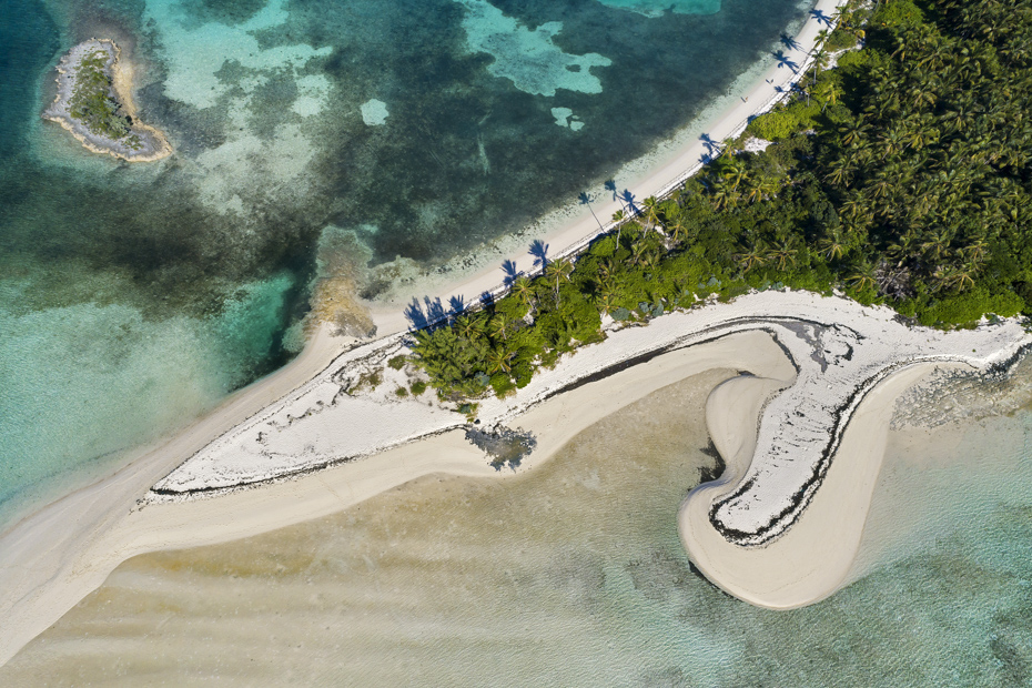 Aerial view of Tahiti Beach on Elbow Cay Bahamas. Elbow Cay Abaco is a world-class beach destination for all Bahamas vacation goers and anyone taking a day trip to Bahamas.