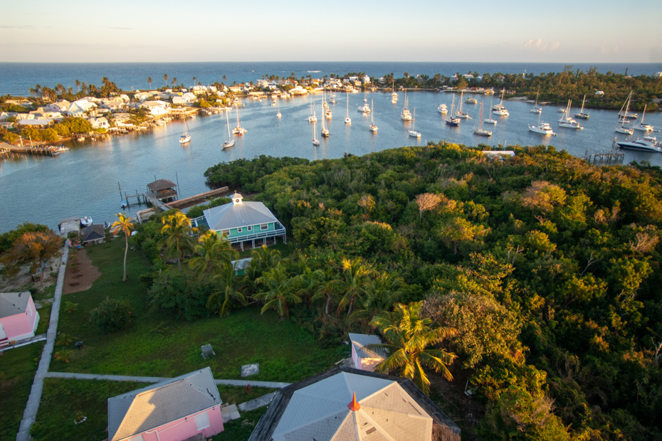 Aerial view of Hope Town Abaco on Elbow Cay. Elbow Cay Abaco is a popular Bahamas vacation spot especially for day tours to Bahamas by plane.