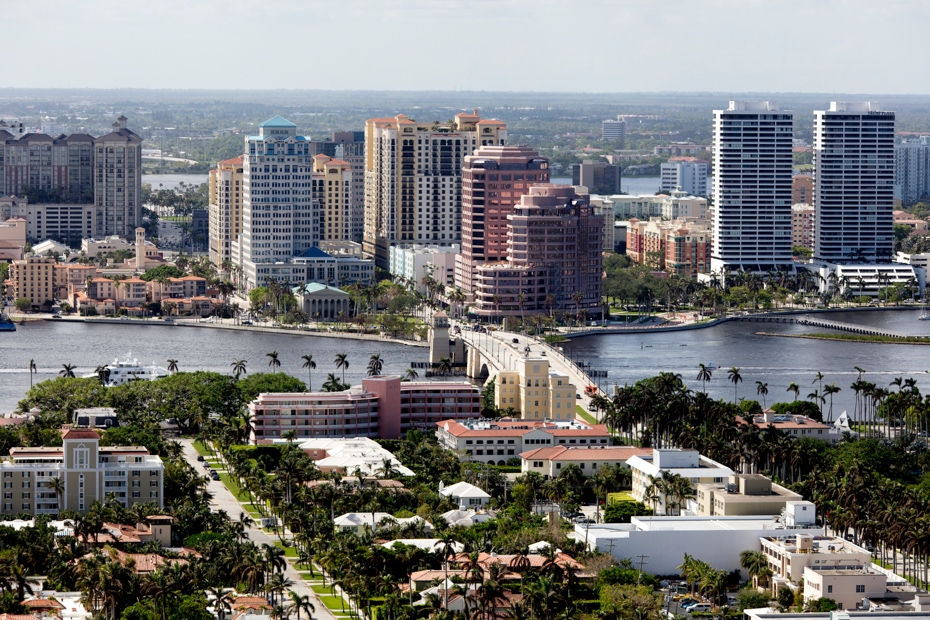 Aerial view of some of the places to visit in West Palm Beach. Downtown West Palm Beach Florida beautiful skyline.