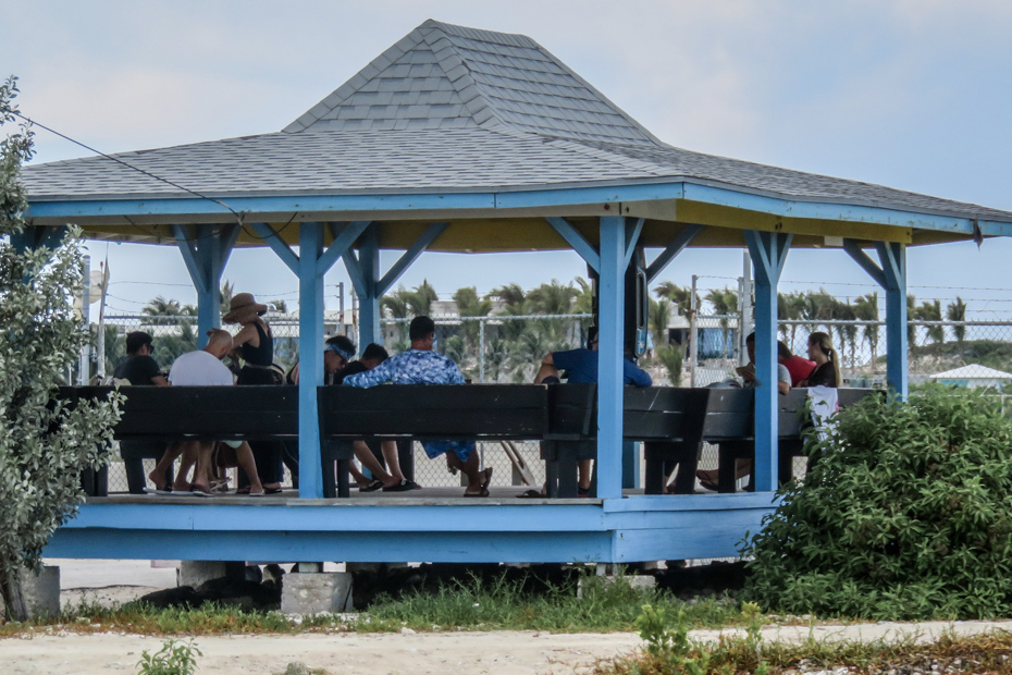 The open air Terminal building at Staniel Cay Airport, where guests flying into Staniel Cay Bahamas can wait for their flights.