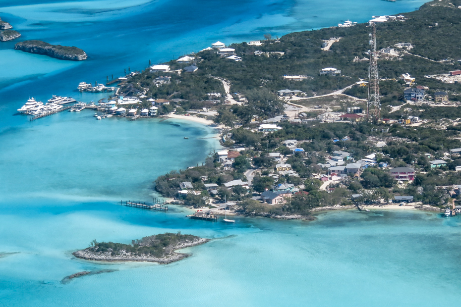 Staniel Cay Bahamas Village as seen from the Air. Take a flight from Miami to Staniel Cay with Bahamas Air Tours.