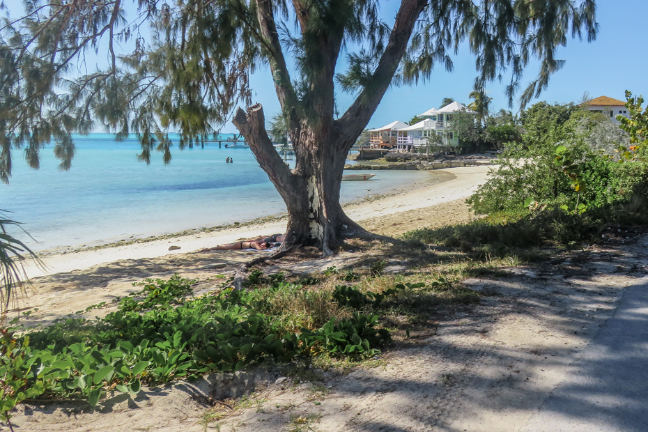 The main public beach on Staniel Cay Bahamas is located next to the Staniel Cay Yacht Club and village.