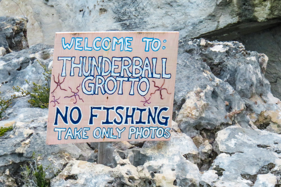 The entrance to the James Bond Thunderball Grotto Cave at Staniel Cay