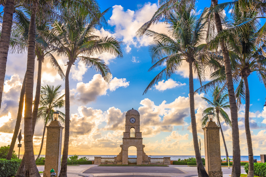 The popular Worth Avenue Clock Tower of West Palm Beach Florida. One of the many things to do in West Palm Beach on your Florida/ Bahamas vacation.