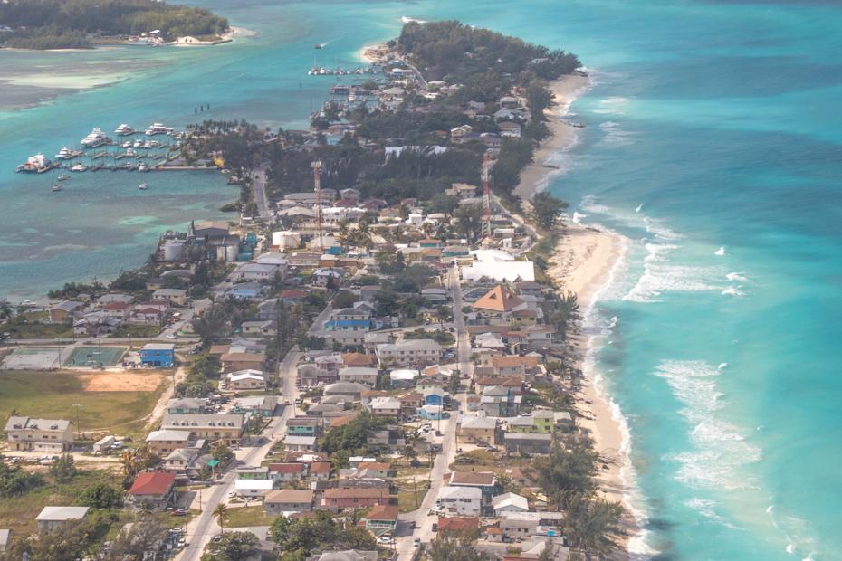 Aerial view of Alice Town and the many Bimini beaches. On a Bimini day cruise to Bimini Bahamas, make sure you check out Resorts World Bimini.