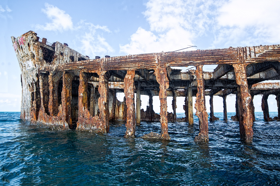 Bimini shipwreck, Sapona, sank during a hurricane in 1926. On the Bimini cruise through the Bahamas. Bahamas Air Tours gives you your guide to Day Trips to Bahamas by flights to Bahamas aboard Bahamas Air Charters.