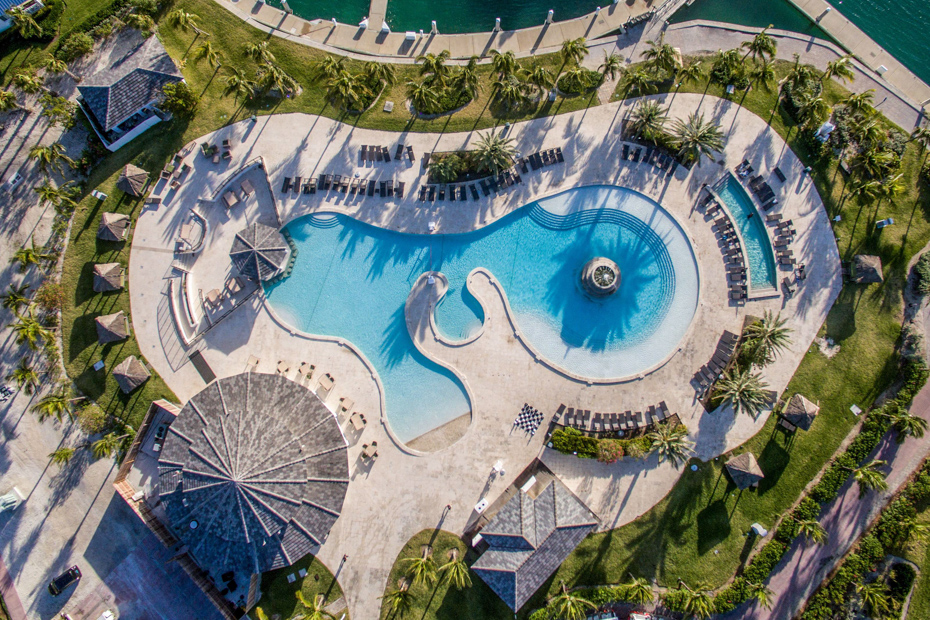 Aerial view of Bimini Bahamas pool. Flights to Bimini Bahamas from Miami to Bimini by Bahamas Air Tours. There are plenty things to do in Bimini to keep you busy.