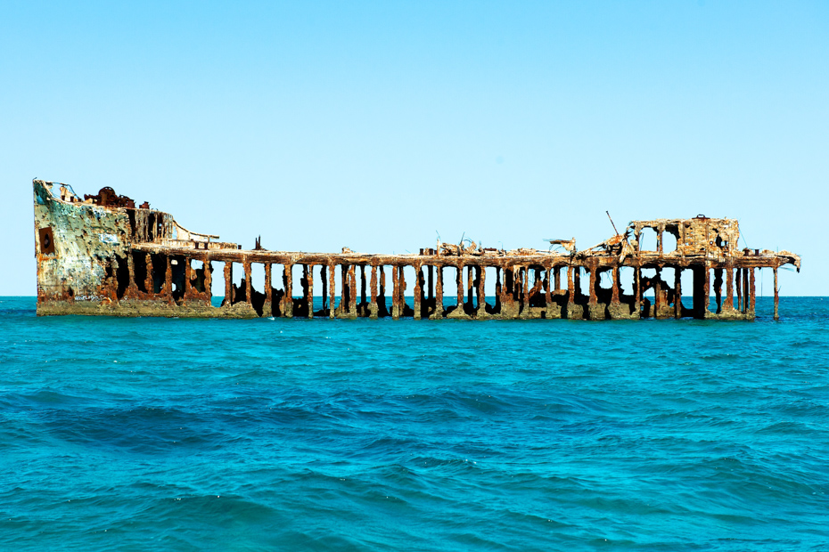 The shipwreck of Sapona off the coast of Bimini Bahamas. This can be seen as an excursion from Resorts World Bimini off the coast of Alice Town Bimini on the stretch of Bimini beaches.