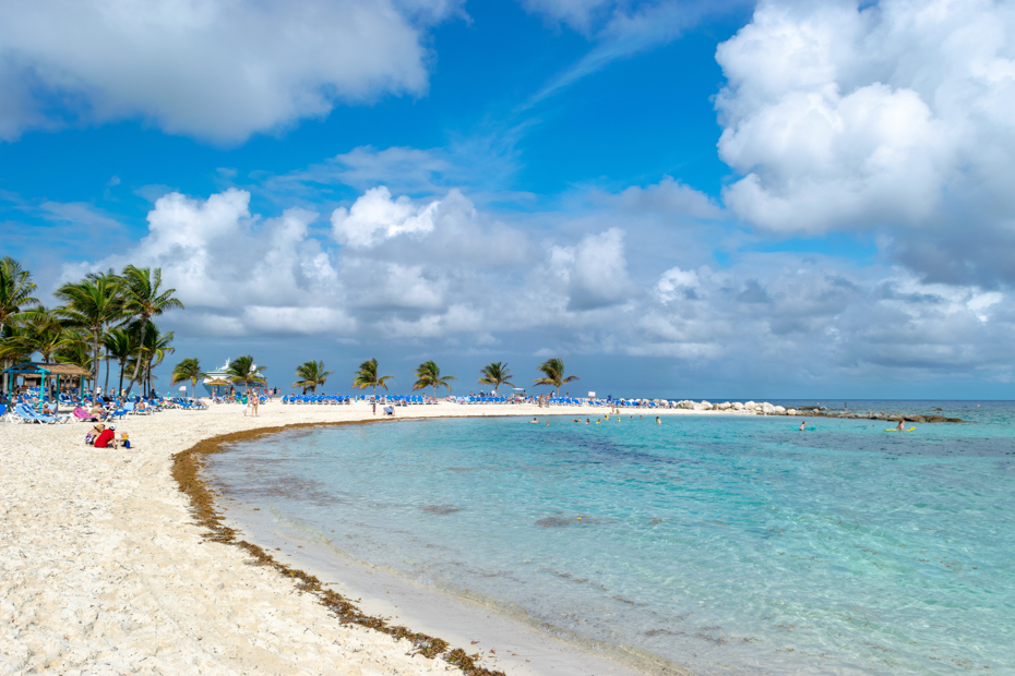 Relax on the beach during your Bahamas vacation. Coco Cay snorkeling in the Bahamas is always popular.