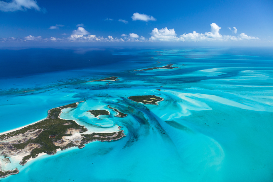 Miles and miles of blue Caribbean Sea. Day trips from Nassau to Exuma Cays offer spectacular views on Bahamas day trips by plane.