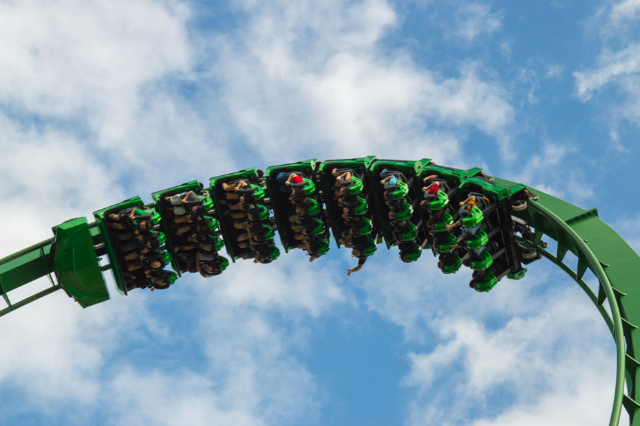 Ride the Green Hulk ride at Universal in Orlando. Find all the fun things to do in Orlando Florida on your Florida vacation.