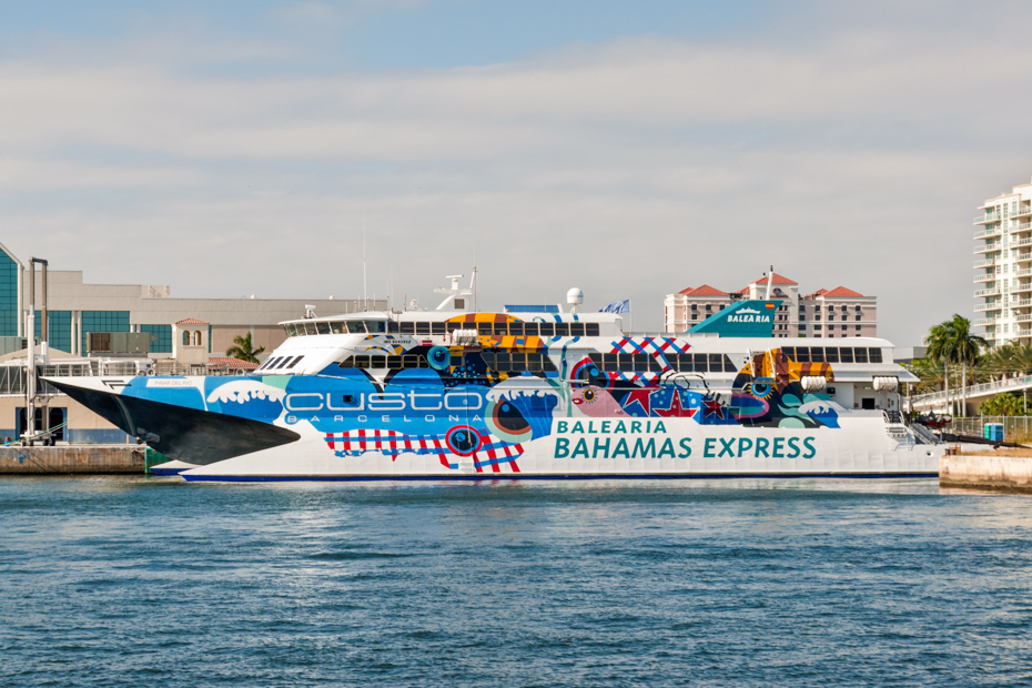 The Balearia ferries aren't the most convenient for Bahamian travel. Instead of the Miami to Bahamas ferry, fly with Bahamas Air Tours to Pig Beach.
