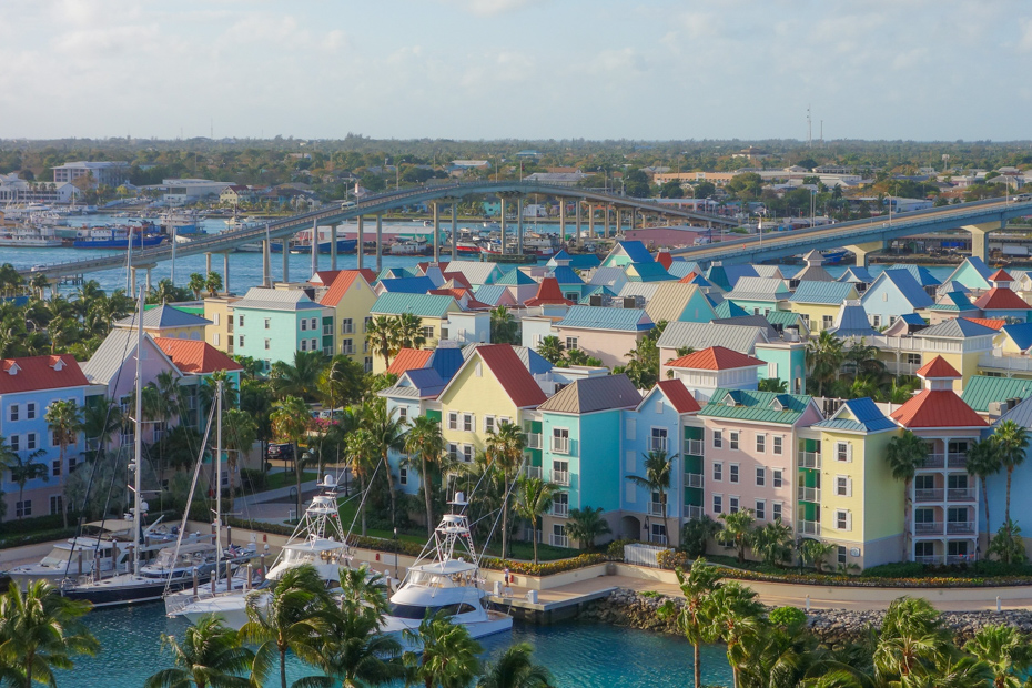 An aerial view of the city scape in Nassau. There are numerous things to do in Atlantis Bahamas and around Paradise Island with Bahamas Air Tours.