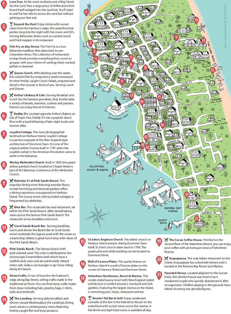 Harbour Island Map Bahamas